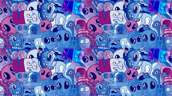 Funny cute cartoon seamless vector illustration - Aliens and UFO.