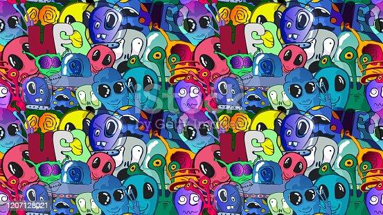 istock Funny cute cartoon seamless vector illustration - Aliens and UFO. 1207128021