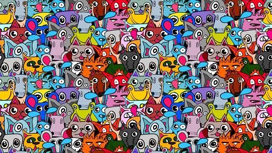 Funny cute cartoon vector seamless illustration - Animals.