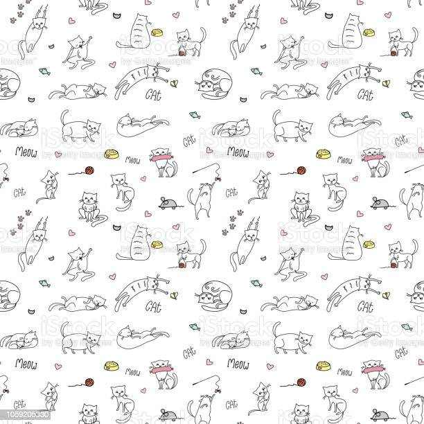 Funny cute cats seamless patternhand drawn background vector id1059205330?b=1&k=6&m=1059205330&s=612x612&h=67yd84yxvlubprfu5osvftmd89oyj6yfbgihpzhw4xc=