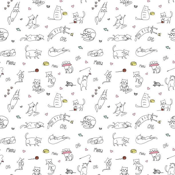 stockillustraties, clipart, cartoons en iconen met grappige schattige katten naadloze patroon, hand getrokken achtergrond, - miauwen