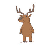 Funny cute deer character standing. Flat vector illustration. Isolated on white background.