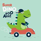 Funny, cute dinosaur with car