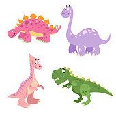 Funny cute dinosaurs set. Brontosaurus, Tyrannosaurus rex, Stegosaurus and Parasaurolophus. Cartoon flat style. Vector illustrations.