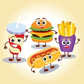 Funny, cute fast food hamburger,  french fries, lemonade, hot dog with smiling human face. Vector illustration for kids restaurant menu.