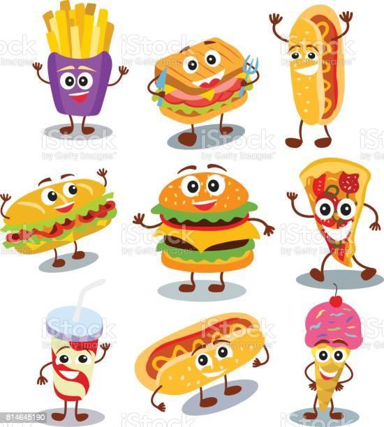 Funny cute fast food hamburger sandwich hot dog pizza ice cream in vector id814645190?b=1&k=6&m=814645190&s=612x612&h=tmek0uu5w44uxcdpcmcldmk 4xsyss7tdzhlryv89ci=