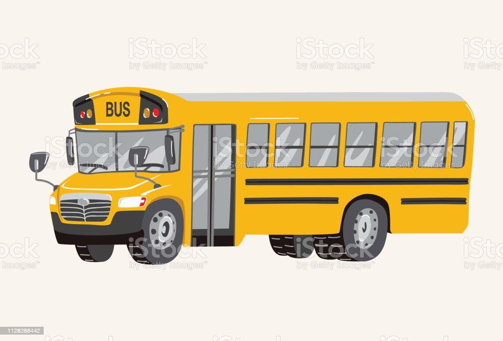 Funny cute hand drawn cartoon School Bus Illustration. Toy Cartoon...