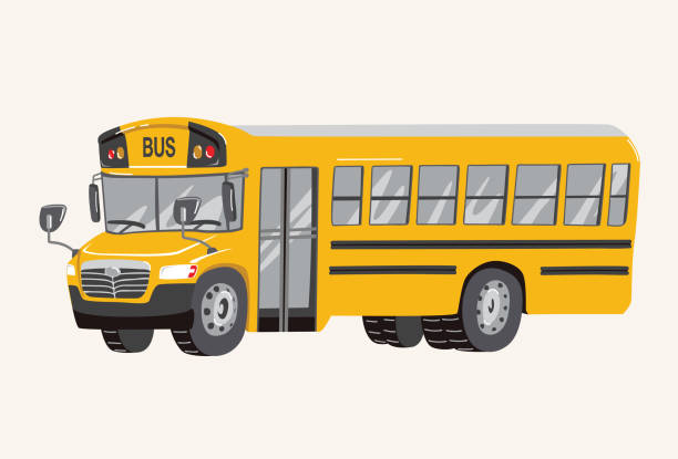 ilustrações de stock, clip art, desenhos animados e ícones de funny cute hand drawn cartoon school bus illustration. toy yellow school bus. toy vehicles for boys. vector illustration - driveway, no people