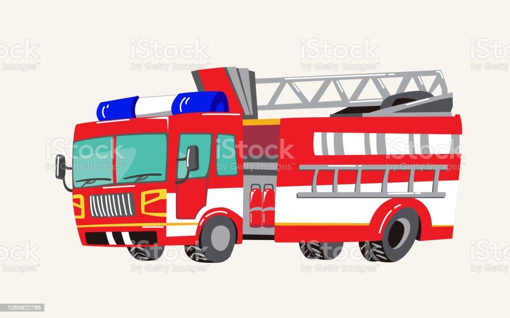 Mano linda divertida dibujado vehículos de dibujos animados. Dibujos animados brillante fuego carro, de bomberos, ilustración vectorial - ilustración de arte vectorial