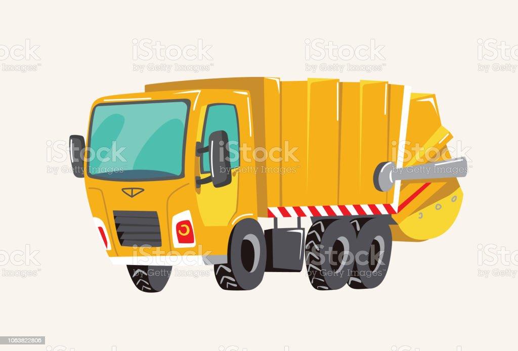 Mano linda divertida dibujado vehículos de dibujos animados. Camión de la basura brillante de la historieta, bomberos, ilustración vectorial - ilustración de arte vectorial