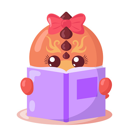 Funny cute kawaii dragon with book in flat design with shadows.