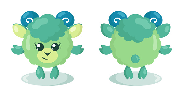 Funny cute kawaii lamb with round body in flat design with shadows, front and back