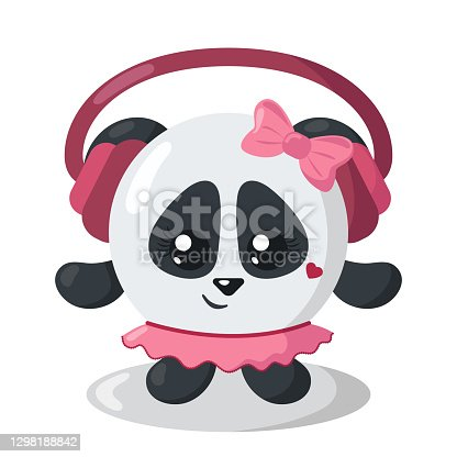 istock Funny cute kawaii panda bear with headphones and round body in flat design with shadows 1298188842