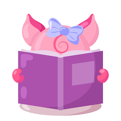 Funny cute kawaii pig with book in flat design with shadows.