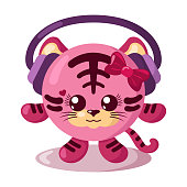 Funny cute kawaii tiger with headphones and round body in flat design with shadows. Isolated animal vector illustration