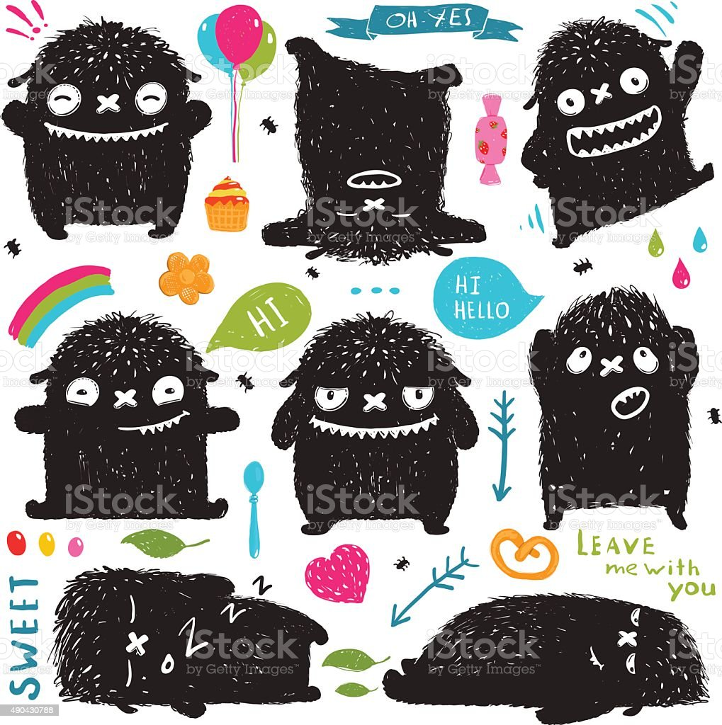Funny Cute Little Black Monster Holiday Clip Art Collection vector art illustration