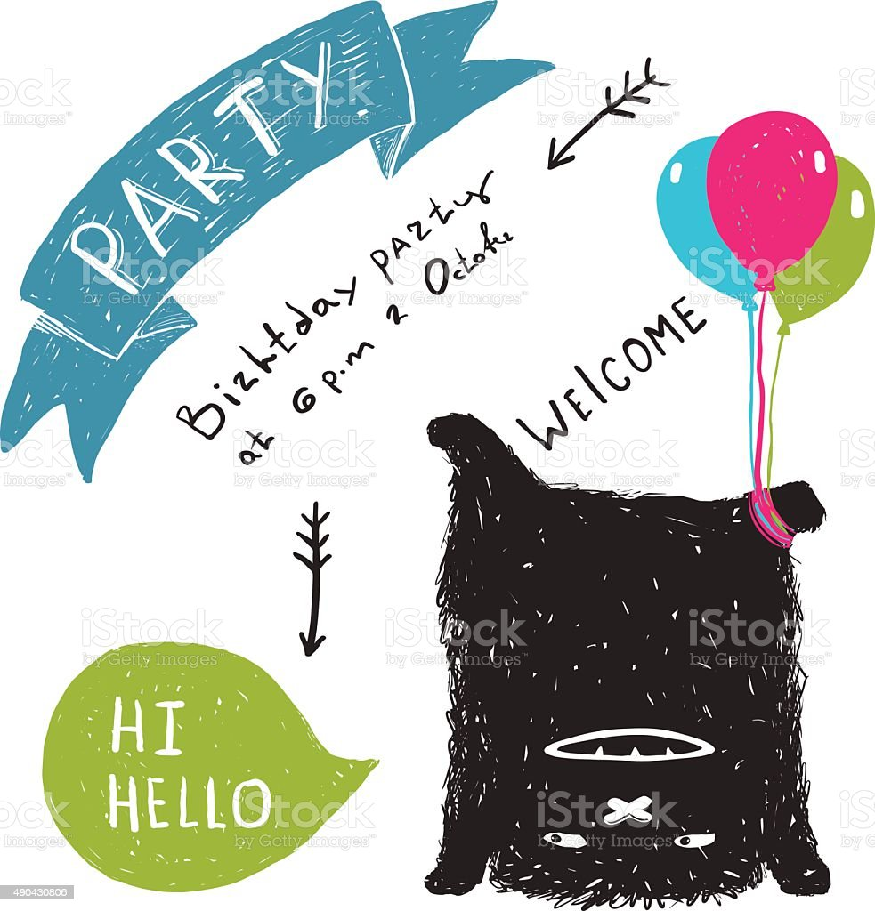 Funny Cute Little Black Monster Party Greeting Card or Invitation vector art illustration