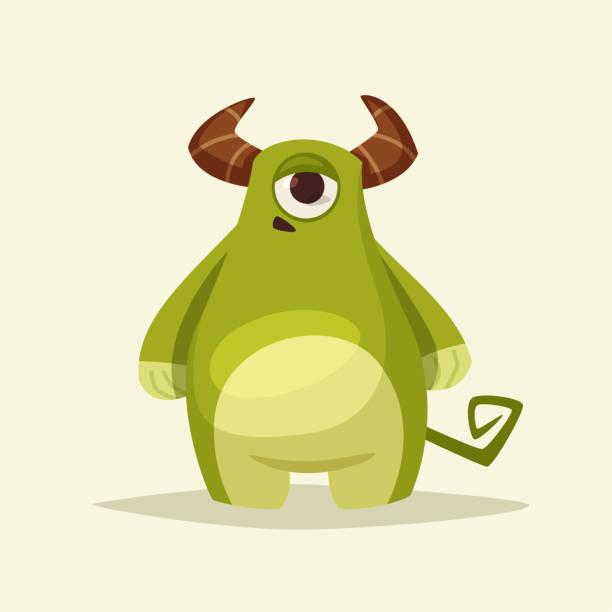 Personnage drôle de monstre mignon. Illustration de vecteur de dessin animé. - Illustration vectorielle