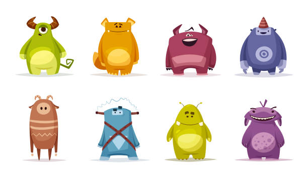 Funny cute monster character Funny cute monster character. Cartoon vector illustration. Design for print and web. Halloween person. Party decoration. monster stock illustrations