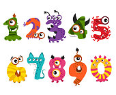 Funny cute monster numbers for halloween party event vector