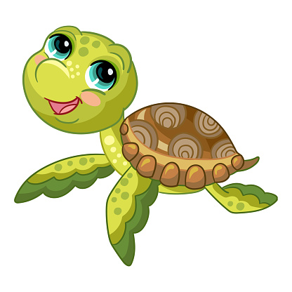 Funny cute ocean turtle vector isolated illustration