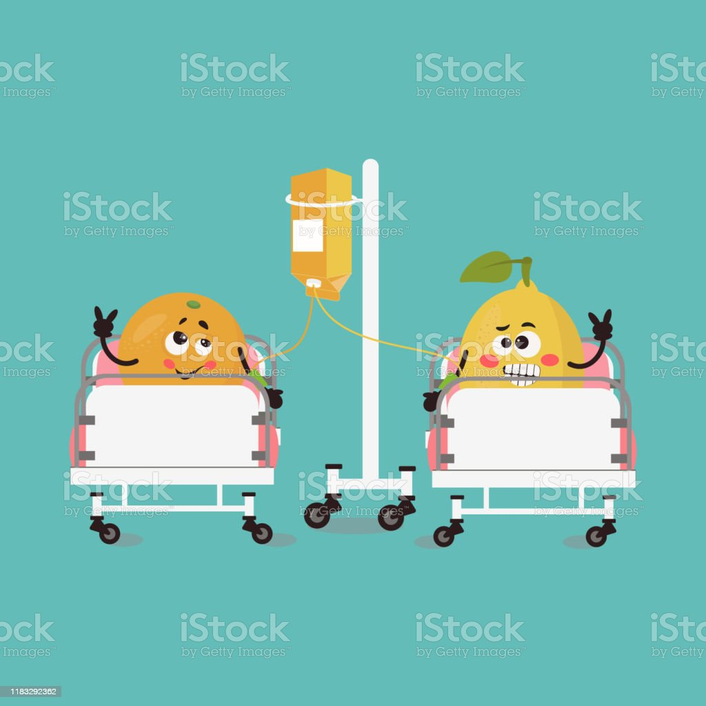 Funny Cartoon Hospital Pics funny cute orange and lemon in kawaii style in a hospital