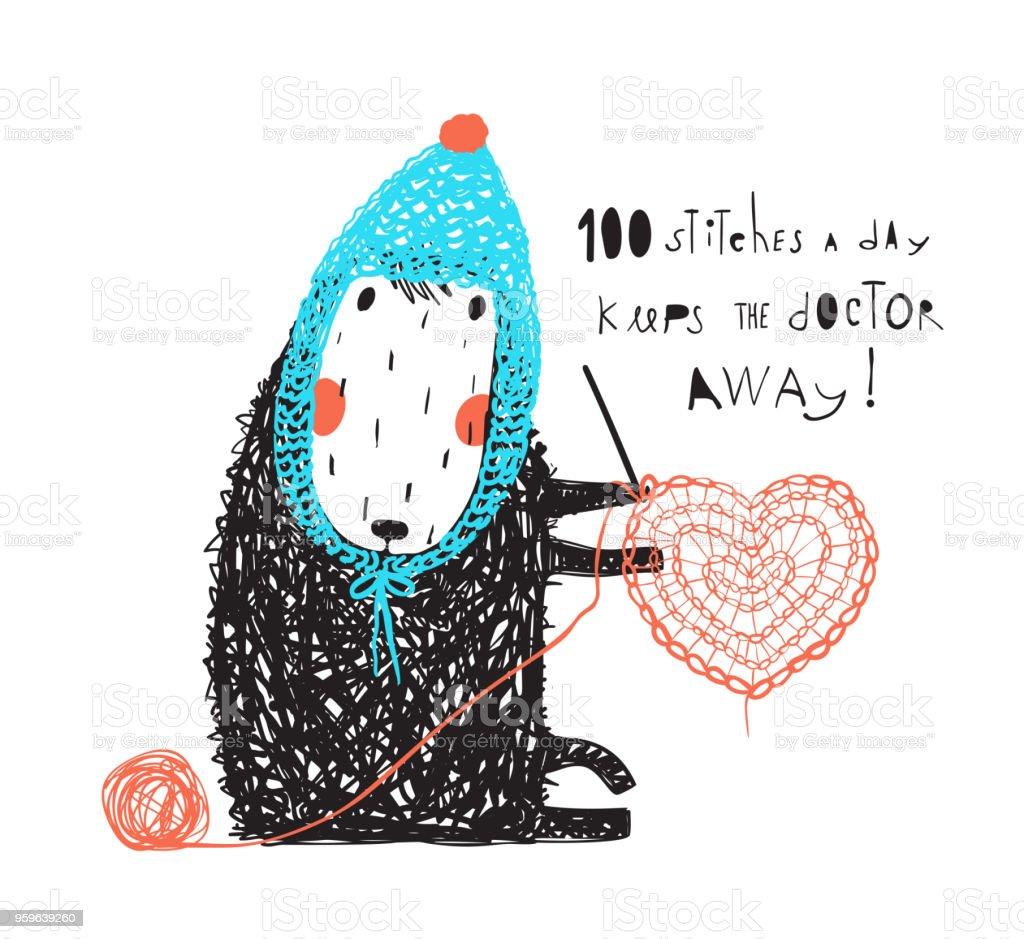 Ilustración de Funny Ovejas Lindos En Sombrero Crochet y más banco ...