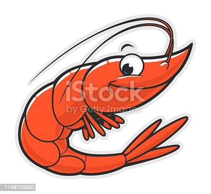 Cartoon funny smiling shrimp on the white background.