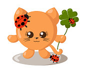 Funny cute smiling cat with round body and ladybugs holding four-leaf good luck clover in flat design with shadows. Isolated animal vector illustration