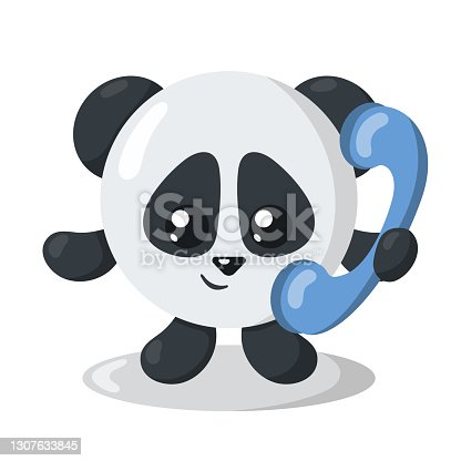 istock Funny cute smiling panda holding a phone. 1307633845