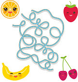 Funny cute strawberry, orange, banana cherry on white background. labyrinth game for Preschool Children. Vector illustration