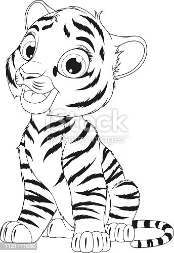 Vector illustration coloring of an funny cheerful tigre sitting sits over white background