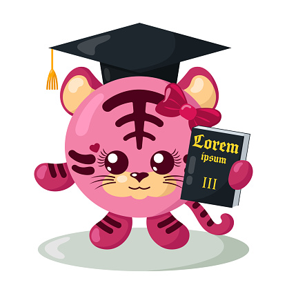 Funny cute tiger justice with book (copy space) and hat in flat design.