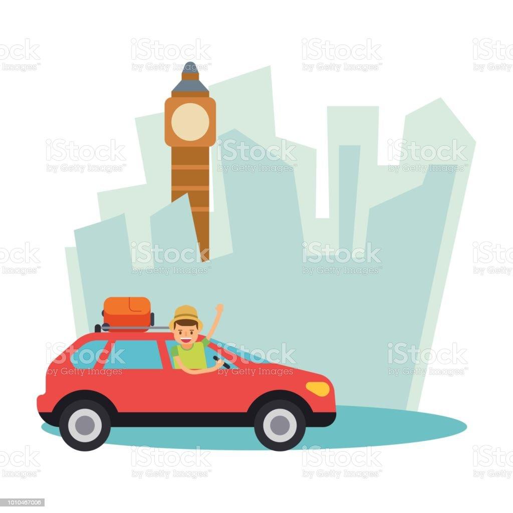 面白いかわいい旅行者男休暇や休日ビッグ ベンで乗る車でロンドン マンガ