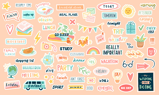 Funny cute vector planning stickers