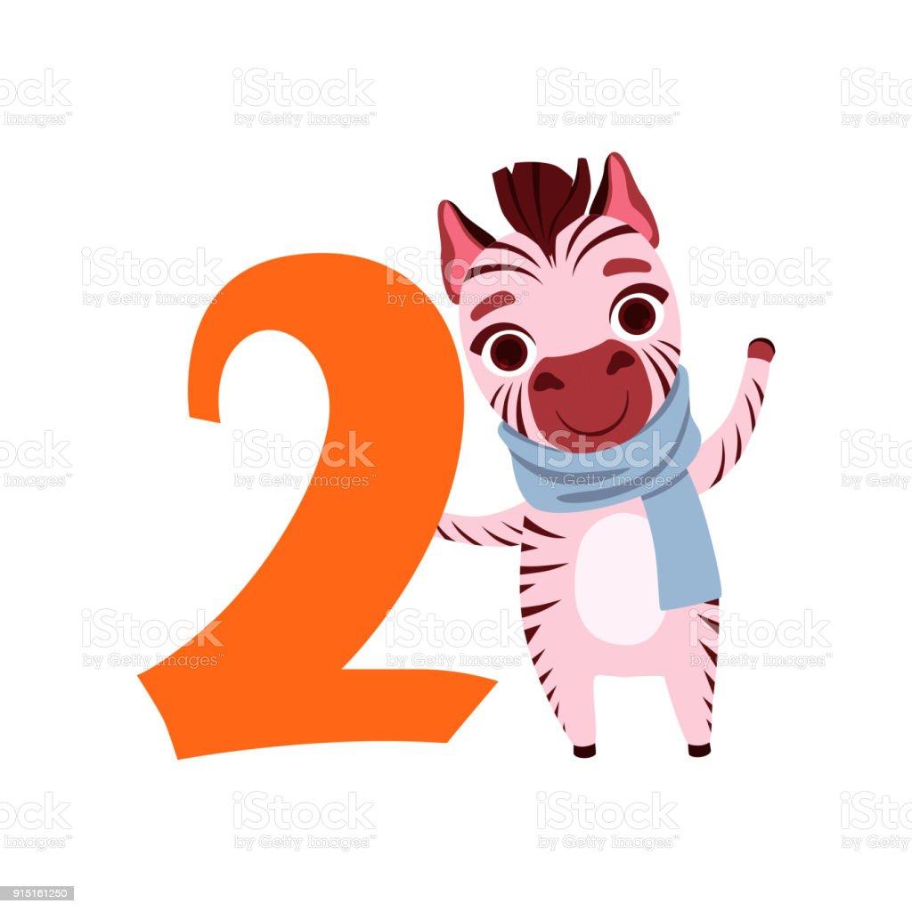 Drôle De Zèbre Mignon Animal Et Numéro Deux Anniversaire Apprennent