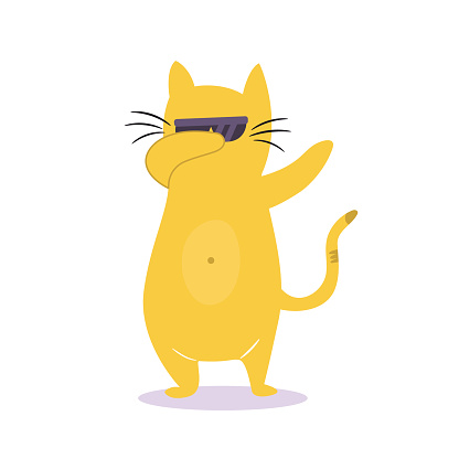 Funny dabbing cat in sunglasses. Vector illustration. Character design. Pet collection