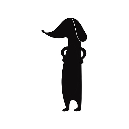 Funny dachshund dog standing black silhouette flat vector illustration isolated.
