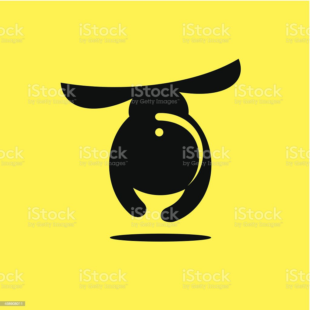Funny dachshund on a yellow background vector art illustration