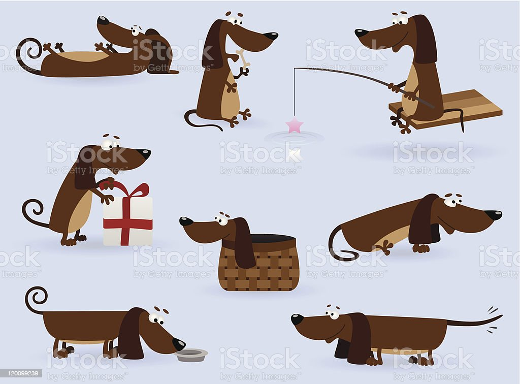 Funny dachshund set royalty-free stock vector art