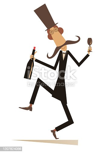 Long mustache man in the top hat with bottle of wine and footed tumbler isolated on white