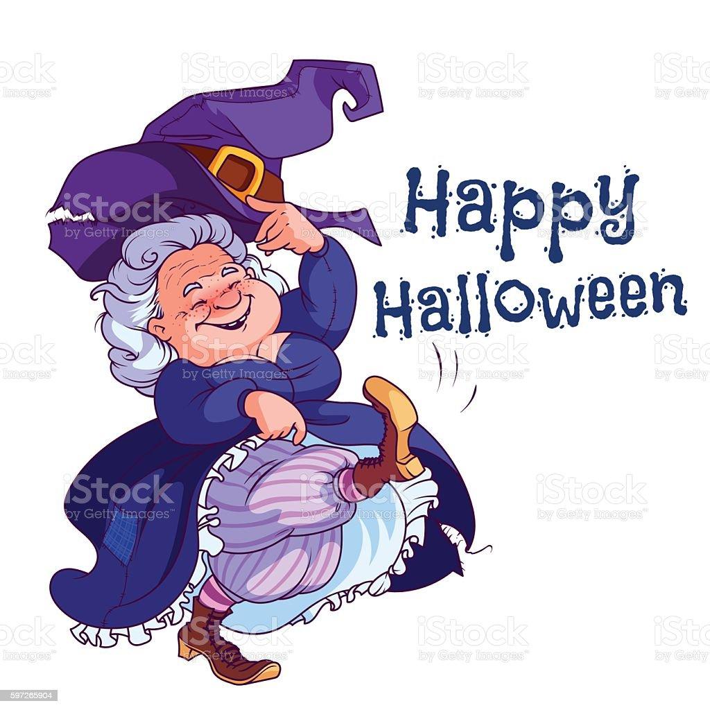 Funny dancing old witch. Lizenzfreies funny dancing old witch stock vektor art und mehr bilder von alter erwachsener