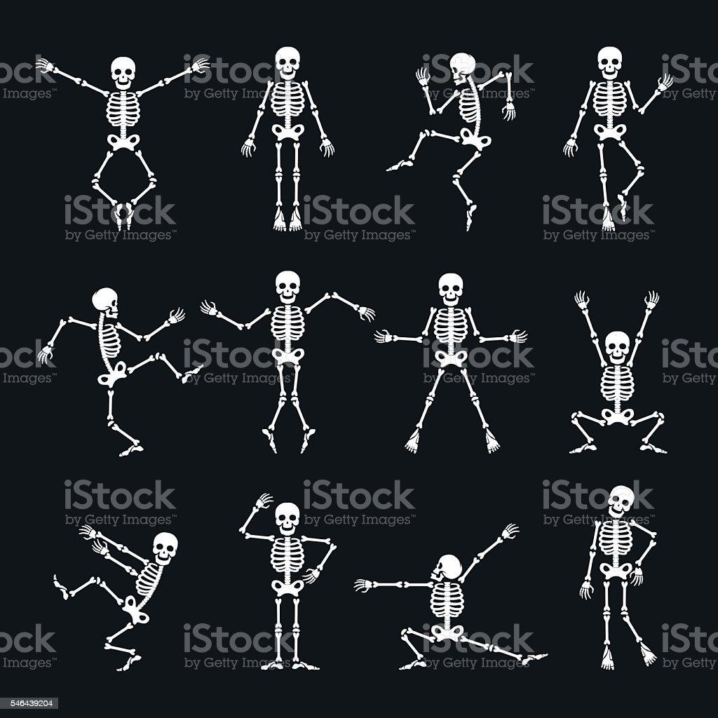 Funny dancing skeleton set vector art illustration