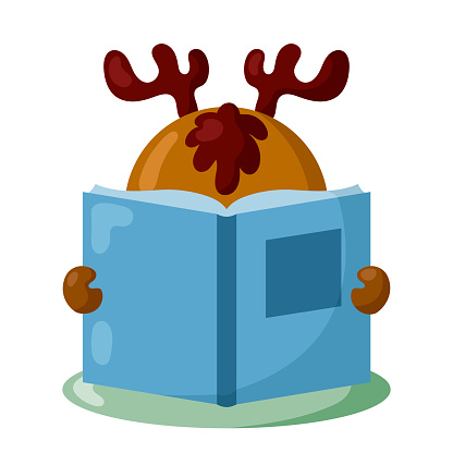 Funny deer or moose with book in flat design with shadows.
