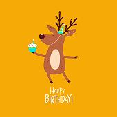 Funny deer wishes a happy birthday. Vector graphics