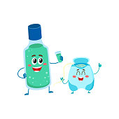 Funny dental floss and mouthwash, mouth rinse character, teeth care concept, cartoon vector illustration isolated on white background. Dental floss and mouthwash characters, cleen teeth concepts