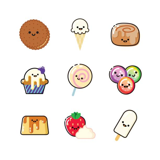 funny dessert icon collection with faces - cinnamon roll stock illustrations, clip art, cartoons, & icons