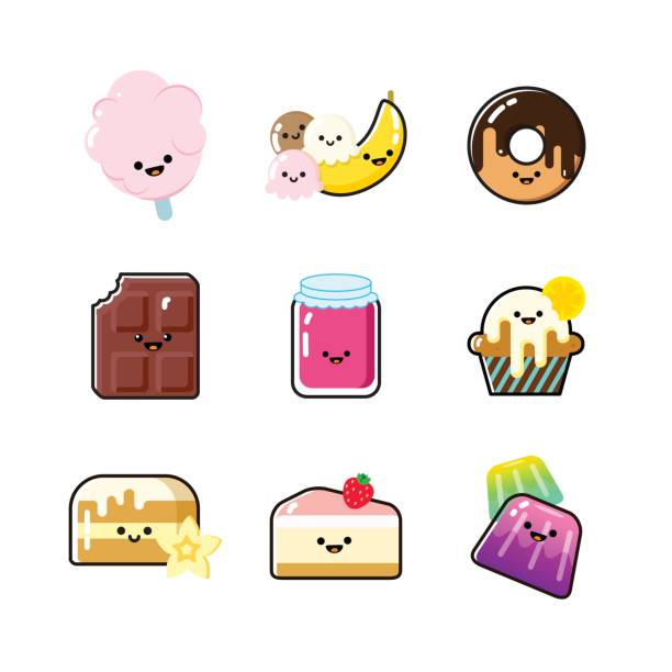 Funny dessert icon collection with faces vector art illustration