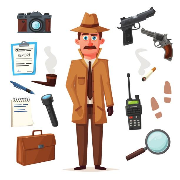 Funny detective character. Cartoon vector illustration Funny detective character. Cartoon vector illustration. Cheerful inspector in raincoat. Man in hat. detective stock illustrations