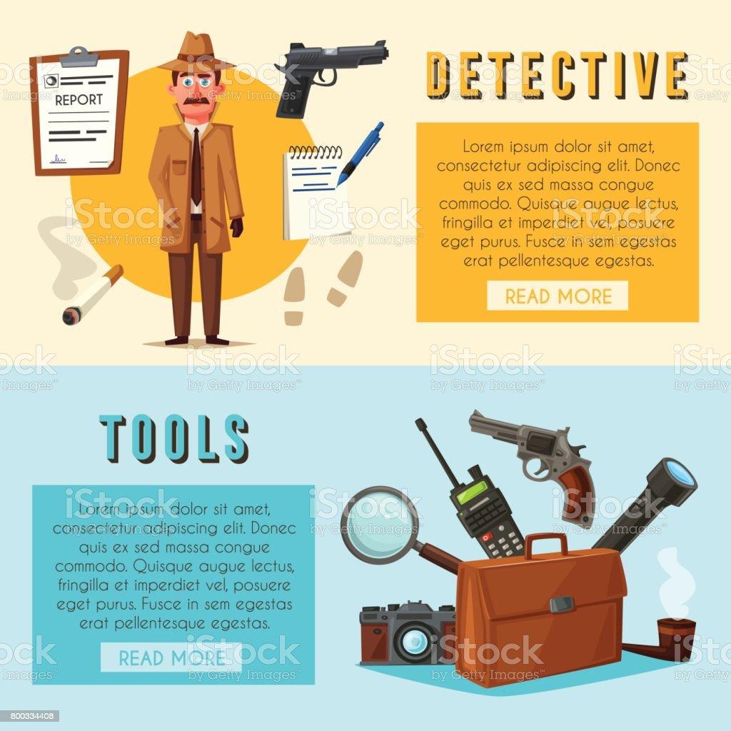 Komik Dedektif Karakter çizgi Film Vektör çizim Stok Vektör Sanatı